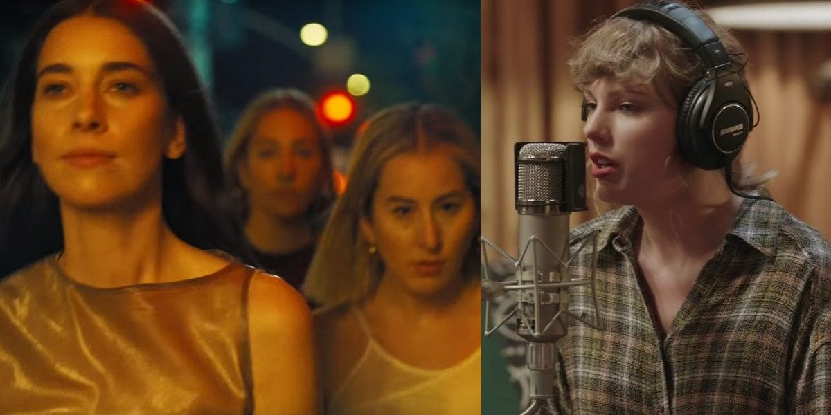 Haim in Now I'm In It music video and Taylor Swift in folklore Disney+ movie