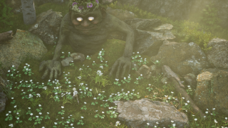 A friendly-looking troll looks down on the boy frolicking in the tall, tall grass
