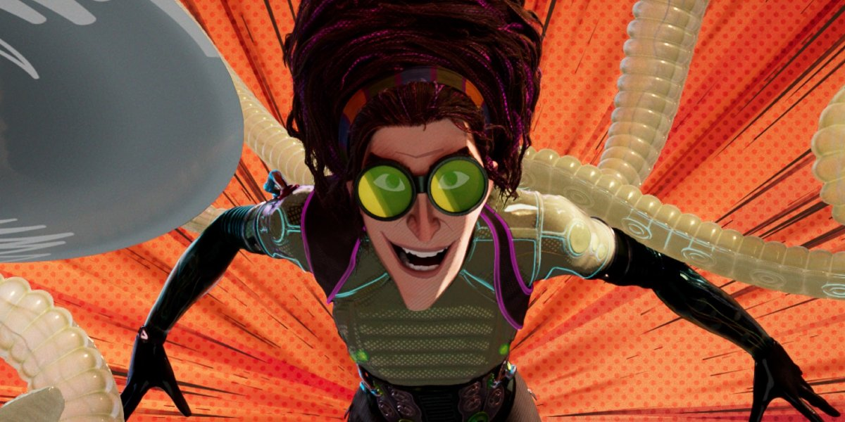 Spider-Man: Into the Spider-Verse Olivia Octavius leaping towards the camera