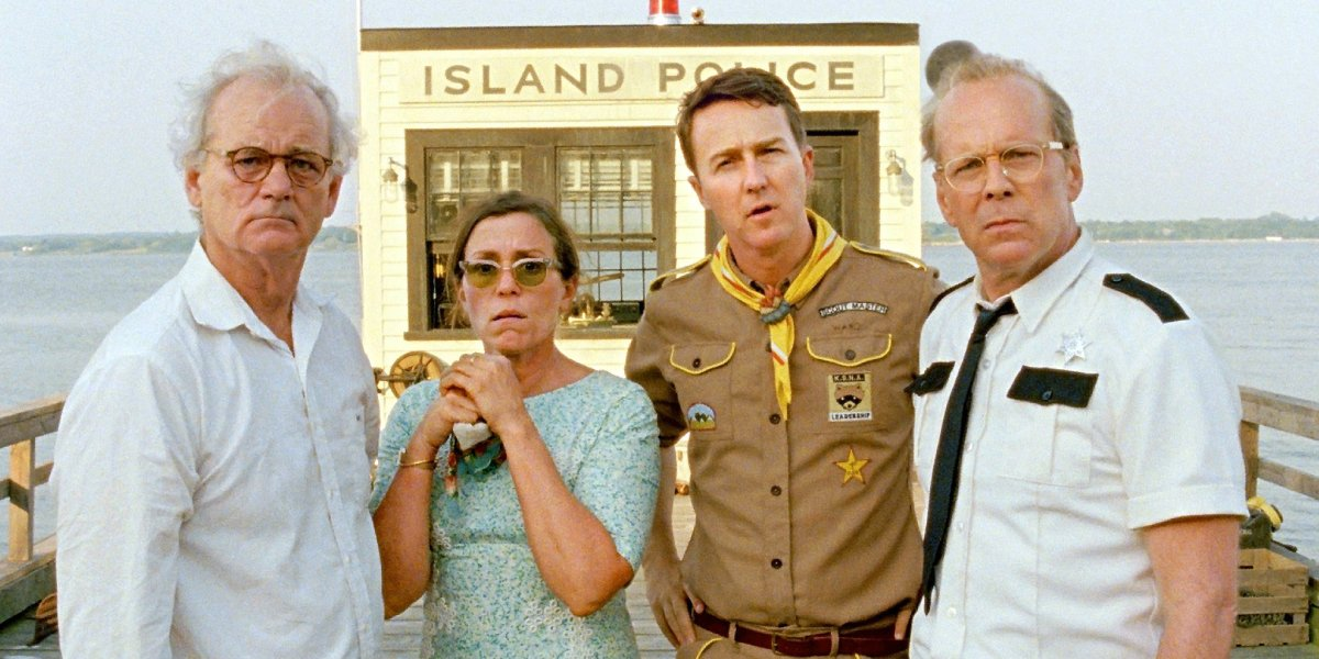 Bill Murray, Frances McDormand, Edward Norton, and Bruce Willis in Moonrise Kingdom