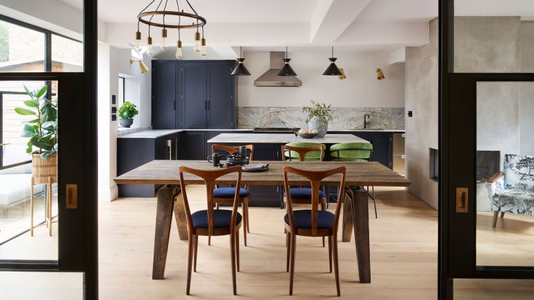 Transitional kitchen ideas with wood and neutral cabinets