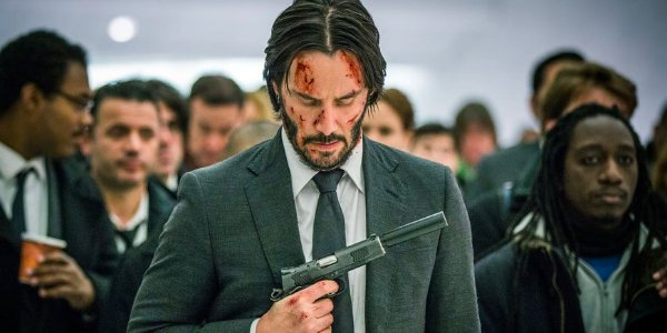 John Wick: Chapter 2 John walking through The Oculus, with his face cut and bleeding