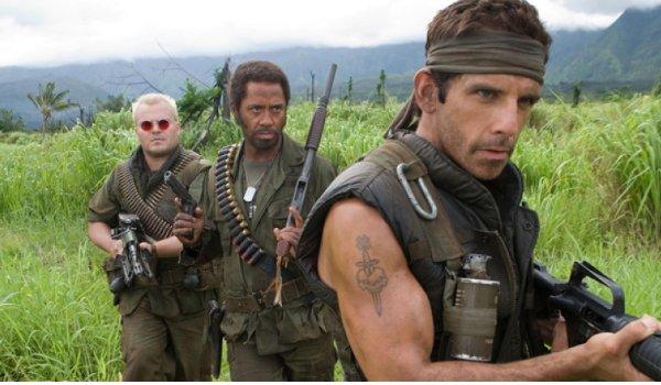 Tropic Thunder Jack Black Robert Downey Jr. Ben Stiller on jungle patrol
