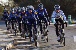 ALTEA SPAIN JANUARY 12 Dries Devenyns of Belgium Andrea Bagioli of Italy Julian Alaphilippe of France World Champion jersey and Fausto Masnada of Italy and Team Deceuninck Quick Step SWorks Tarmac SL Specialized during the Team Deceuninck QuickStep 2021 Training Camp deceuninckqst TheWolfpack on January 12 2021 in Altea Spain Photo by Luc ClaessenGetty Images