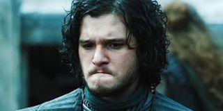 Kit Harington frowns as Jon Snow in Game of Thrones HBO
