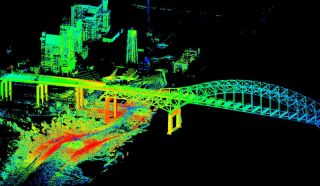 Lidar scan of New Orleans bridge after Hurricane Isaac.
