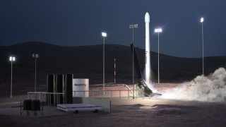 An artist's depiction of the Relativity Space launch site at Vandenberg Air Force Base in California.