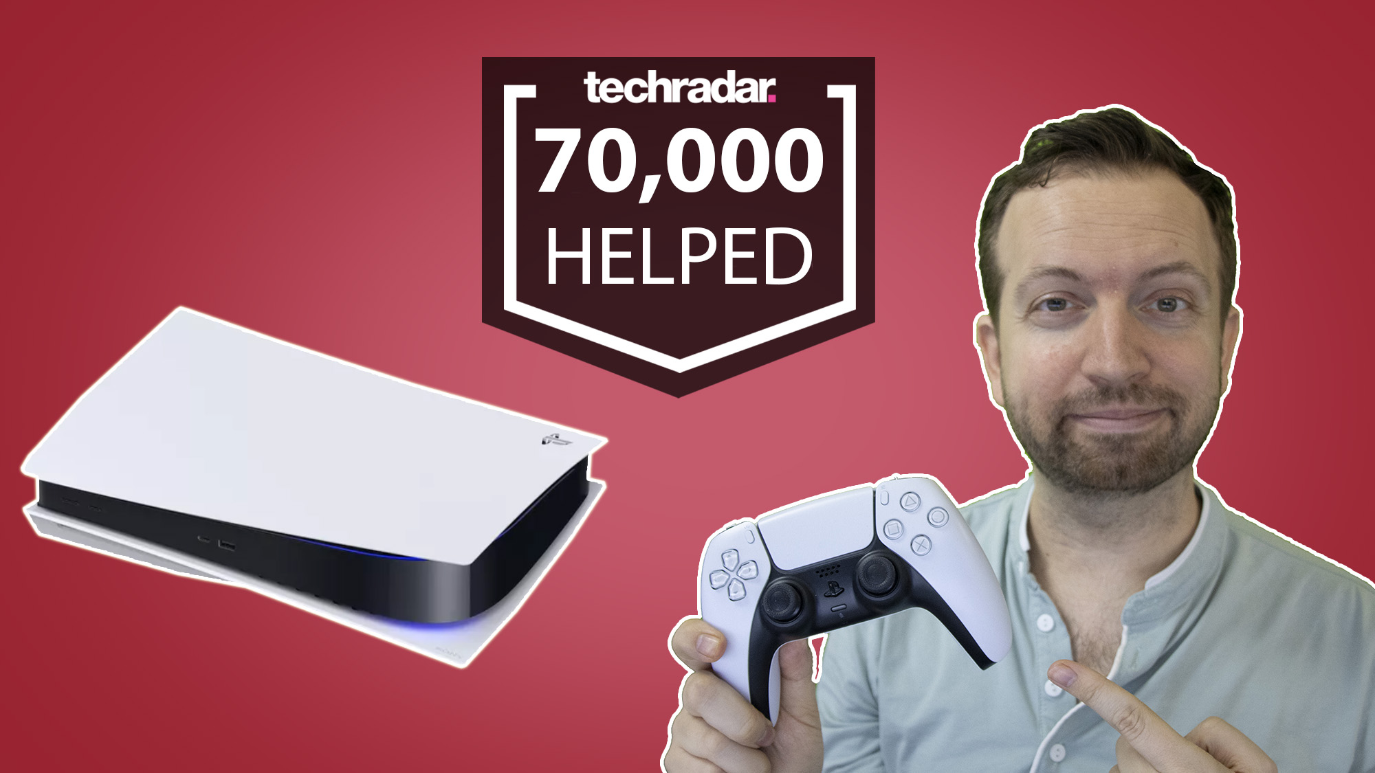 PS5 restock tracker Matt Swider posing with a PlayStation 5 console
