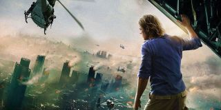 Brad Pitt watching the world burn in World War Z poster