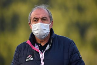 LAGHI DI CANCANO ITALY OCTOBER 22 Arrival Mauro Vegni of Italy Giro dItalia Director Mask Covid safety measures during the 103rd Giro dItalia 2020 Stage 18 a 207km stage from Pinzolo to Laghi di Cancano Parco Nazionale dello Stelvio 1945m girodiitalia Giro on October 22 2020 in Laghi di Cancano Italy Photo by Stuart FranklinGetty Images