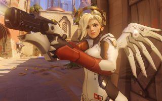 Mercy aiming her pistol