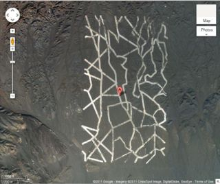 A strange zigzag pattern in the Gobi Desert in China. Coordinates: 40.452107,93.742118. Credit: Copyright 2011 Google - Imagery copyright Cnes/Spot Image, DigitalGlobe, GeoEye