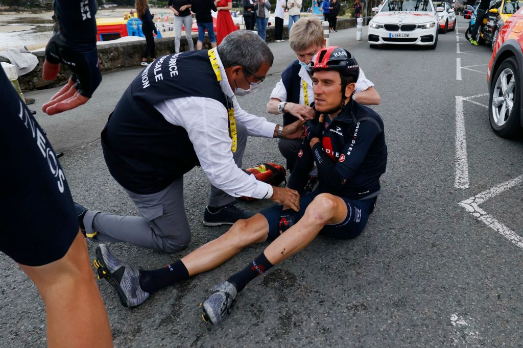 Team Ineos Grenadiers Geraint Thomas of Great Britain receives medical treatment after crashing during the 3rd stage of the 108th edition of the Tour de France cycling race 182 km between Lorient and Pontivy on June 28 2021 Photo by Thomas SAMSON AFP Photo by THOMAS SAMSONAFP via Getty Images