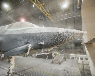 The F-35 undergoes ice evaluation testing.