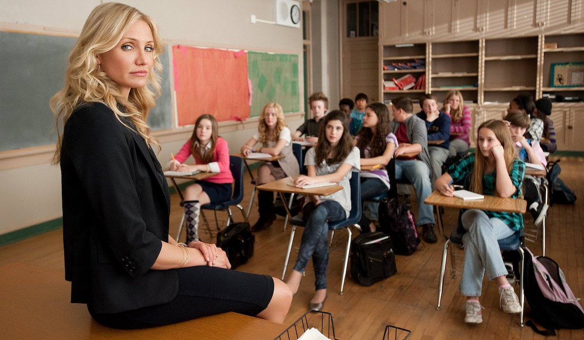 Bad Teacher Cameron Diaz sits in front of her class