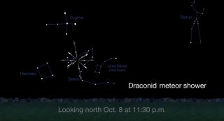 This NASA sky map for Oct. 8, 2016 shows where to look for the origin of the Draconid meteor shower in the constellation Draco in the northern sky at about 11:30 p.m. your local time.