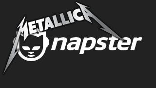 The Metallica and Napster logos