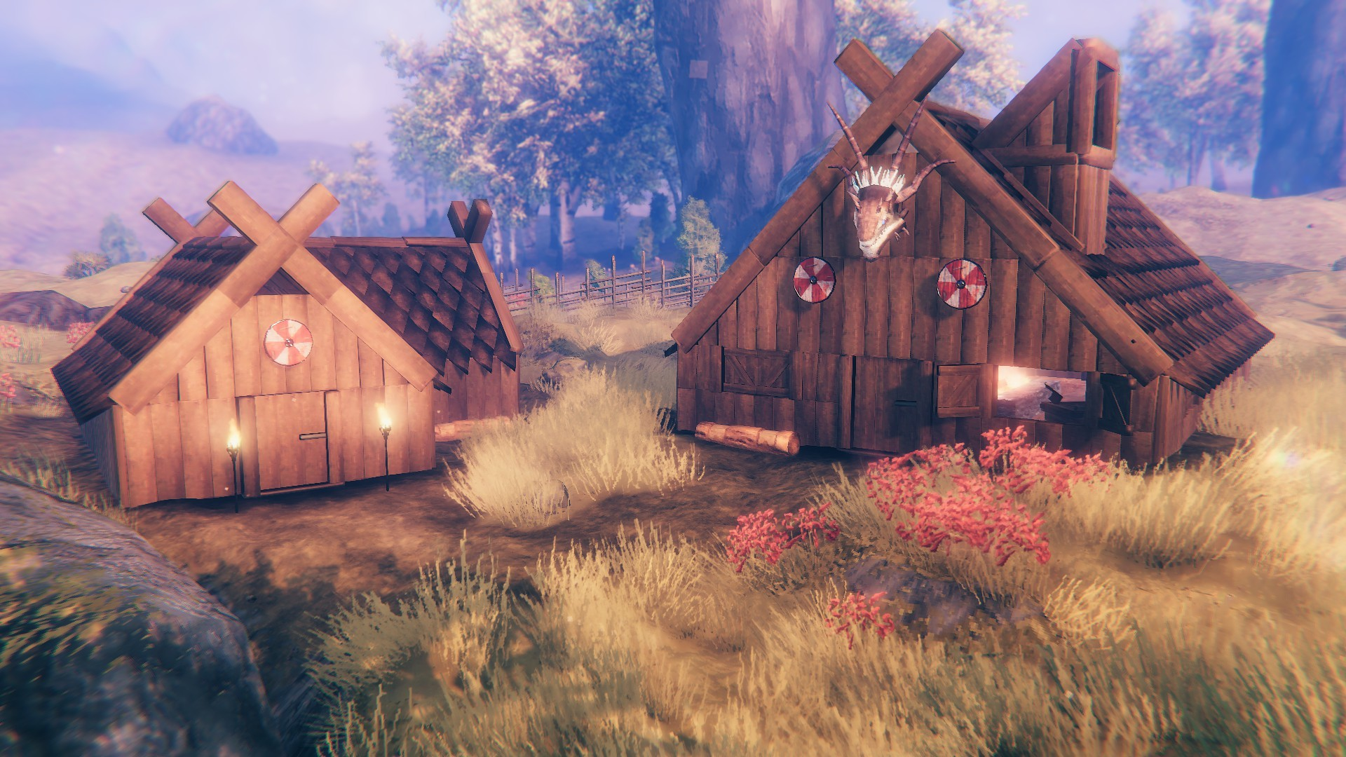Two cosy Viking houses in Valheim