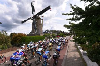 The iconic Dutch windmills during the 2018 Boels Rentals Ladies Tour, now called the Simac Tour