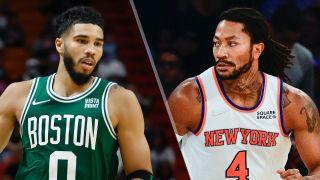 Jayson Tatum and Derrick Rose will face off in the Celtics vs Knicks live stream