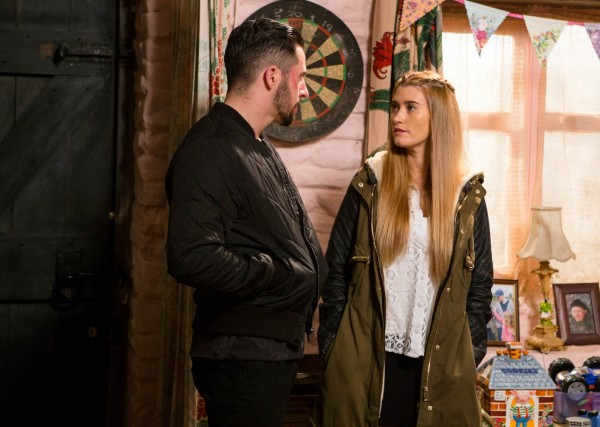Charley Webb and Michael Parr as Debbie and Ross (ITV/Amy Brammall)