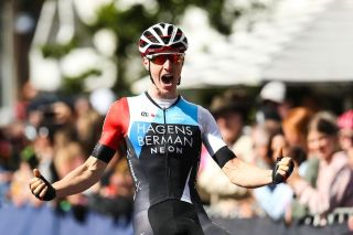 Hagens Berman Axeon's Jarrad Drizners is thrilled to take victory at the under-23 men's road race title at the 2020 Australian Road Championships