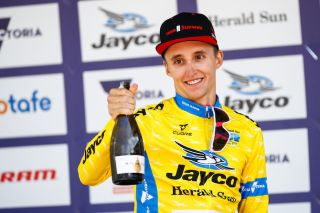Jai Hindley (Sunweb) in the yellow leader's jersey at the 2020 Herald Sun Tour