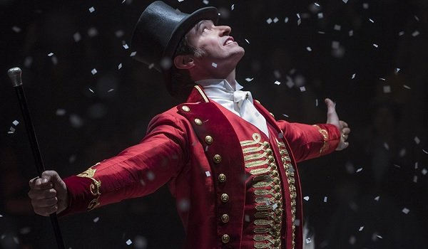 The Greatest Showman Hugh Jackman P.T. Barnum in the spotlight showered in confetti