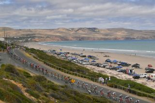 WILLUNGA HILL AUSTRALIA JANUARY 26 Ben Gastauer of Luxembourg and Team AG2R La Mondiale Richie Porte of Australia and Team TrekSegafredo Mads Pedersen of Denmark and Team TrekSegafredo Daryl Impey of South Africa and Team MitcheltonSCOTT Orange Leader Jersey Aldinga beach Landscape Dunes Peloton Ocean during the 22nd Santos Tour Down Under 2020 Stage 6 a 1515km stage from McLaren Vale to Willunga Hill 374m TDU tourdownunder UCIWT on January 26 2020 in Willunga Hill Australia Photo by Tim de WaeleGetty Images