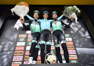 Secondplaced Italian Davide Formolo of BoraHansgrohe winner Danish Jakob Fuglsang of Astana Pro Team and thirdplaced German Maximilian Schachmann of BoraHansgrohe celebrate on the podium after the 105th edition of the LiegeBastogneLiege 258 km one day cycling race in Liege Photo by ERIC LALMAND Belga AFP Belgium OUT Photo credit should read ERIC LALMANDAFP via Getty Images