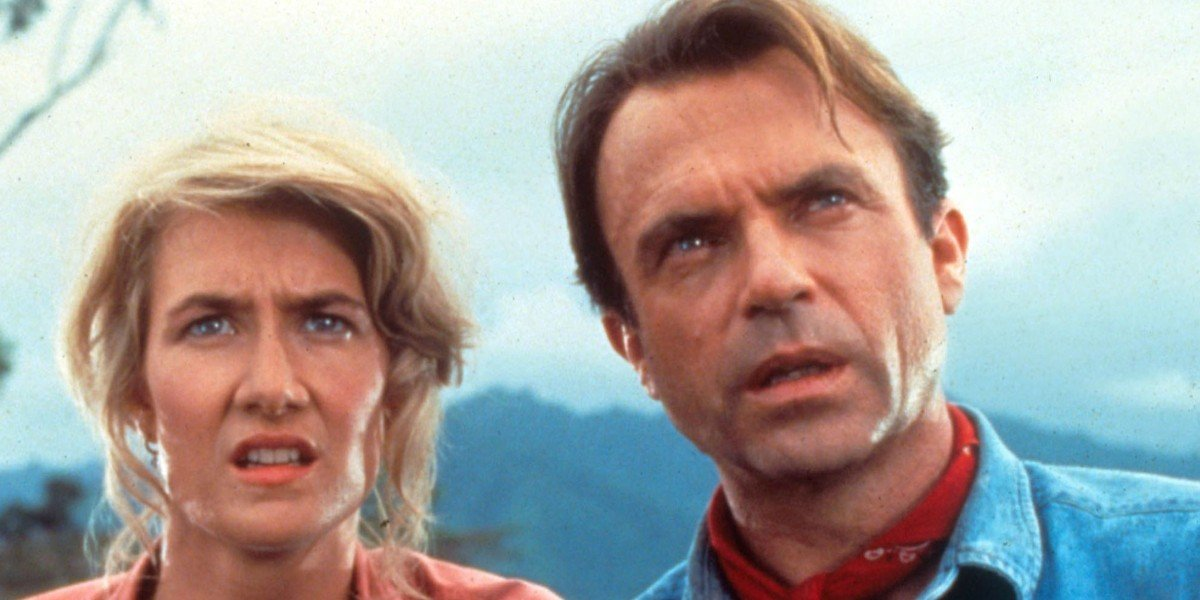 Laura Dern as Dr. Ellie Sattler and Sam Neill as Dr. Alan Grant in Jurassic Park(1993)