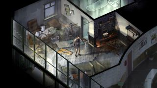 A trashed hotel room in Disco Elysium