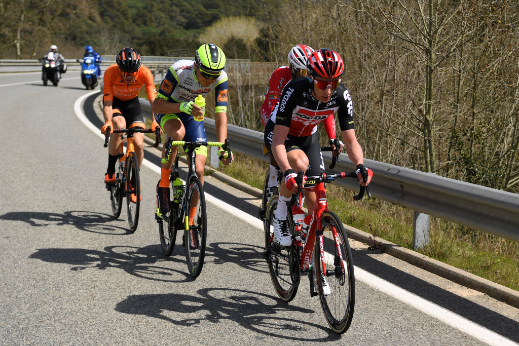 CALELLA SPAIN MARCH 22 Sylvain Moniquet of Belgium and Team Lotto Soudal Natnael Berhane Teweldemedhin of Eritrea and Team Cofidis Rein Taaramae of Estonia and Team Intermarch Wanty Gobert Matriaux Gotzon Martin Sanz of Spain and Team Euskaltel Euskadi during the 100th Volta Ciclista a Catalunya 2021 Stage 1 a 1784km stage from Calella to Calella Breakaway VoltaCatalunya100 on March 22 2021 in Calella Spain Photo by David RamosGetty Images