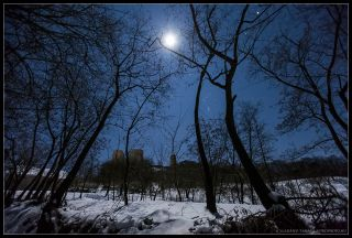 Orion and Moon Shine Over Castle in Hungary 2013