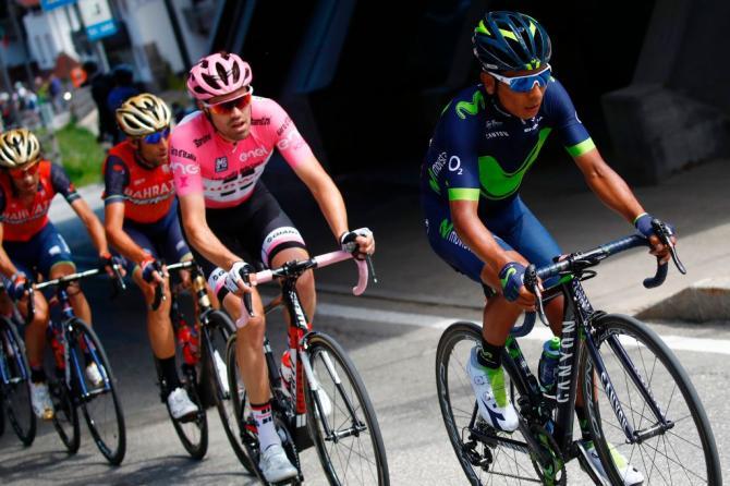 Nairo Quintana (Movistar) with Tom Dumoulin (Sunweb) on stage 18