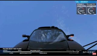 The Tesla Roadster just launched aboard a Falcon Heavy rocket on its maiden voyage on Feb. 6, 2018.