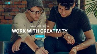 Free WordPress themes: ThemeX theme featuring two hipsters chatting in front of laptop