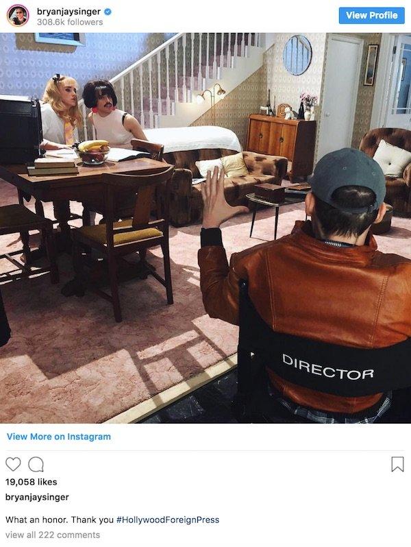 Bryan Singer's instagram post