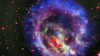 A neutron star at the center of a supernova explosion can be seen in this composite image consisting of X-ray observations from the NASA Chandra observatory, visible-light measurements from the Very Large Telescope and additional data from the Hubble Space Telescope.