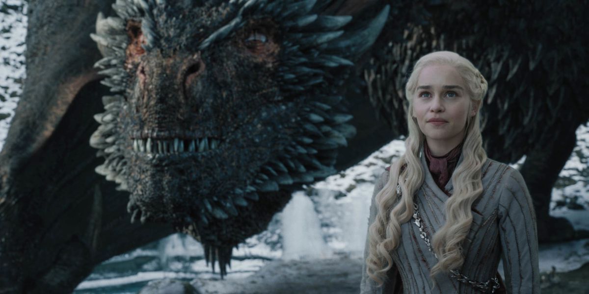 Daenerys with her dragons in Game of Thrones.