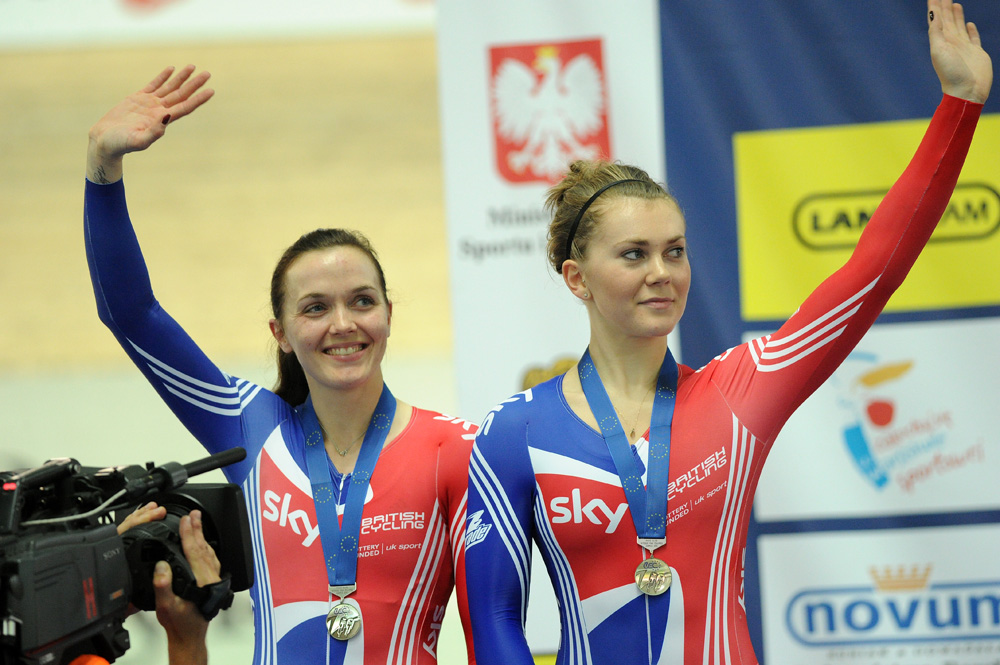 Victoria Pendleton & Jess Varnish, team sprint silver, European Track Championships 2010
