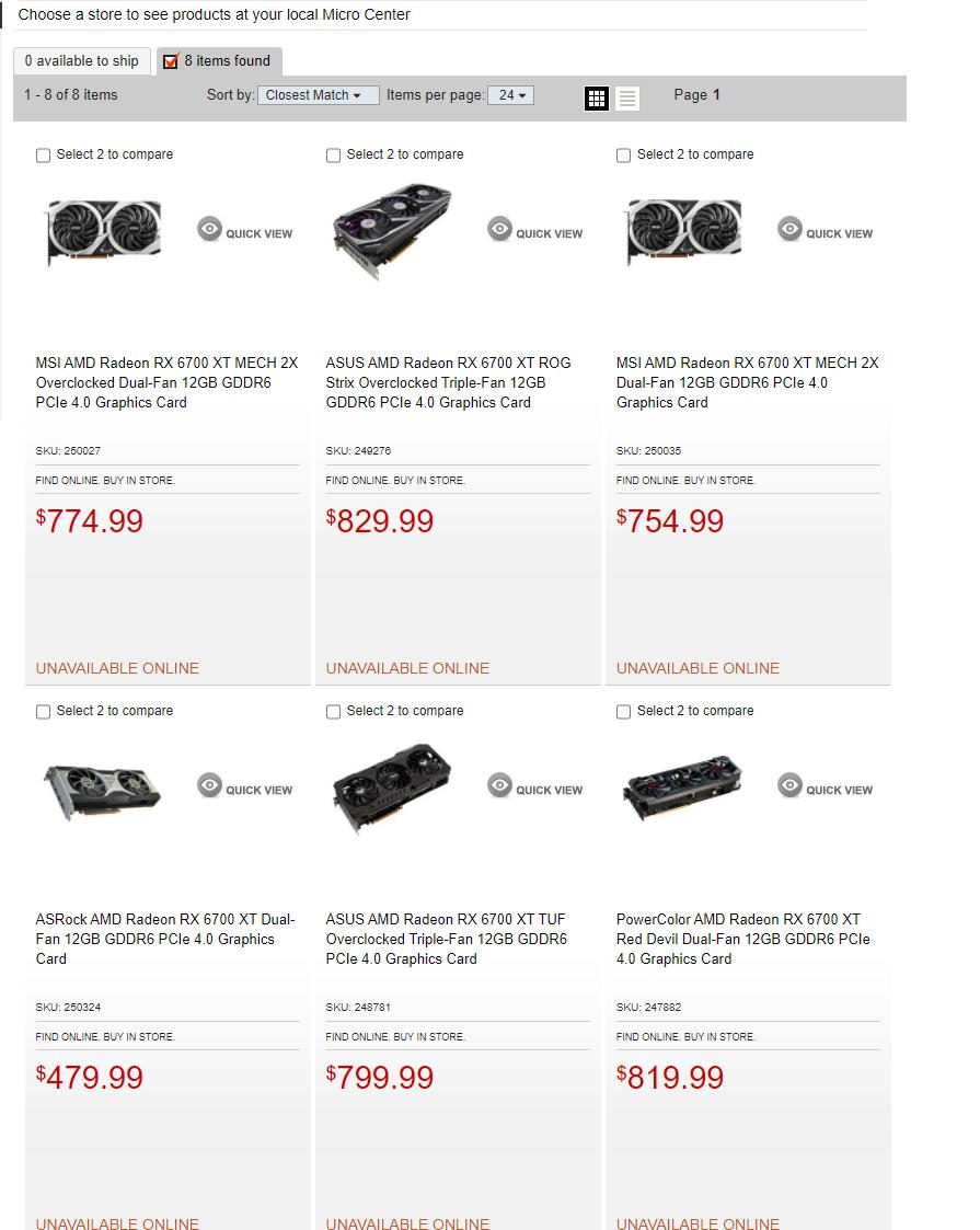 Micro Center RX 6700 XT listings