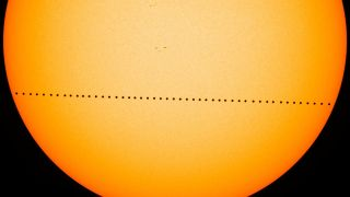 Mercury's transit across the sun in 2016 took 7 and a half hours. This composite image of the journey was created with visible-light images from instruments on NASA's Solar Dynamics Observatory.