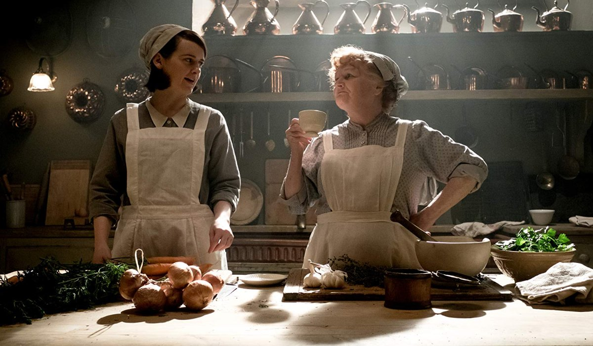 Downton Abbey Daisy and Miss Patimore bonding in the kitchen, as the sun streams in