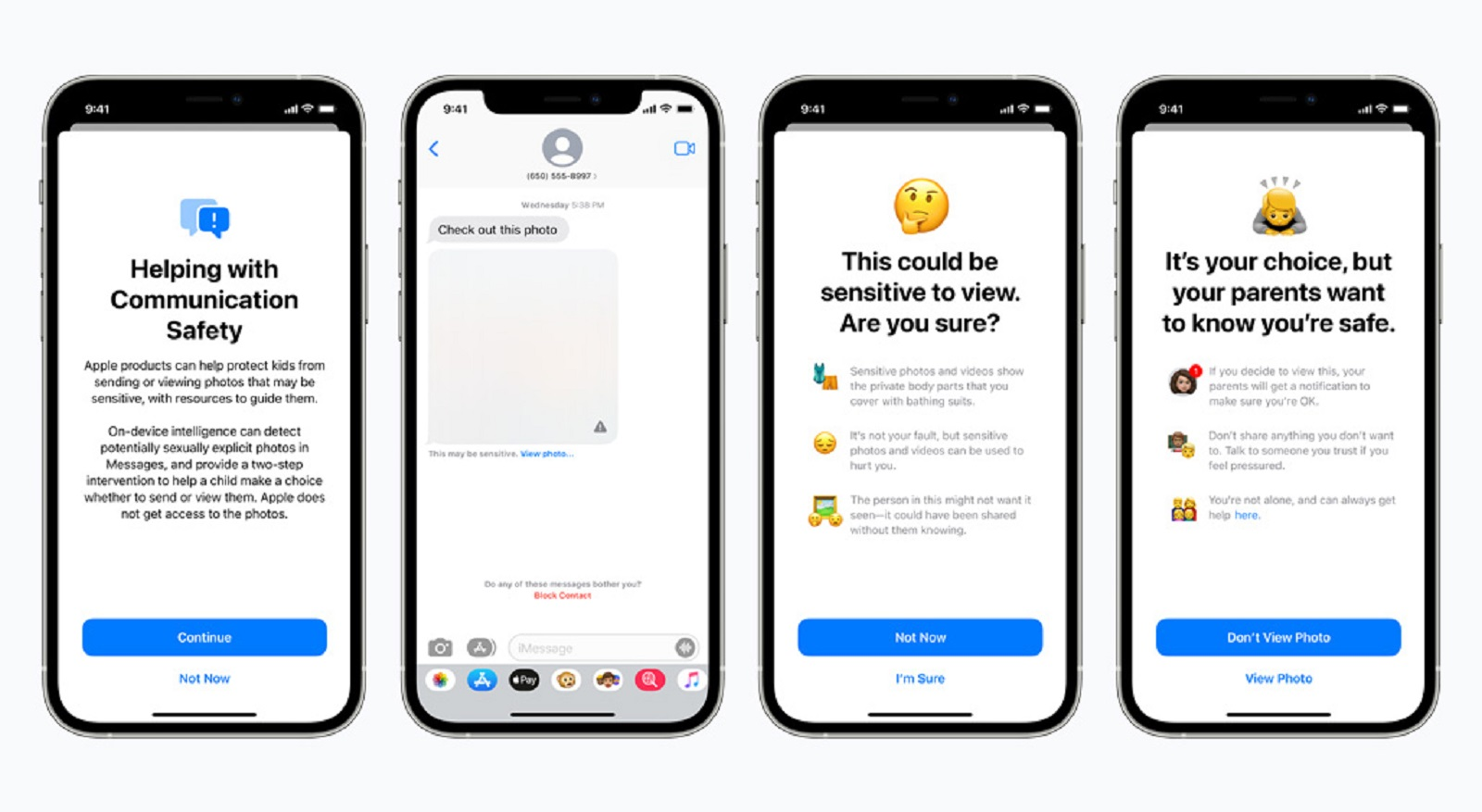 Images showing Apple's Child Safety feature