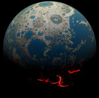 An artist's depiction of a young Earth just after a large impact that brought magma to the planet's surface.
