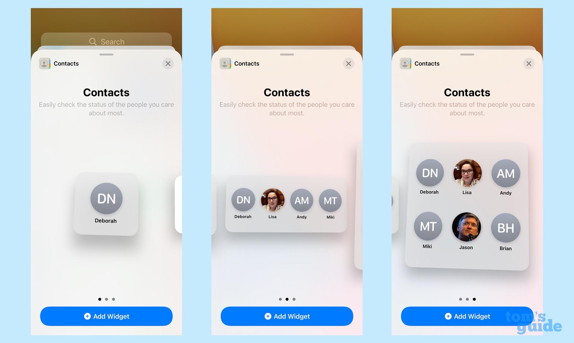 iOS 15 виджеты контакты