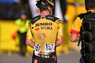 Dylan Groenewegen (Jumbo-Visma) walks away from stage 1 high-speed crash at the Tour de Pologne