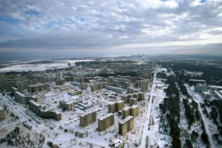 The abandoned town of Pripyat, located about 2 miles (3.2 kilometers) from the Chernobyl nuclear meltdown.