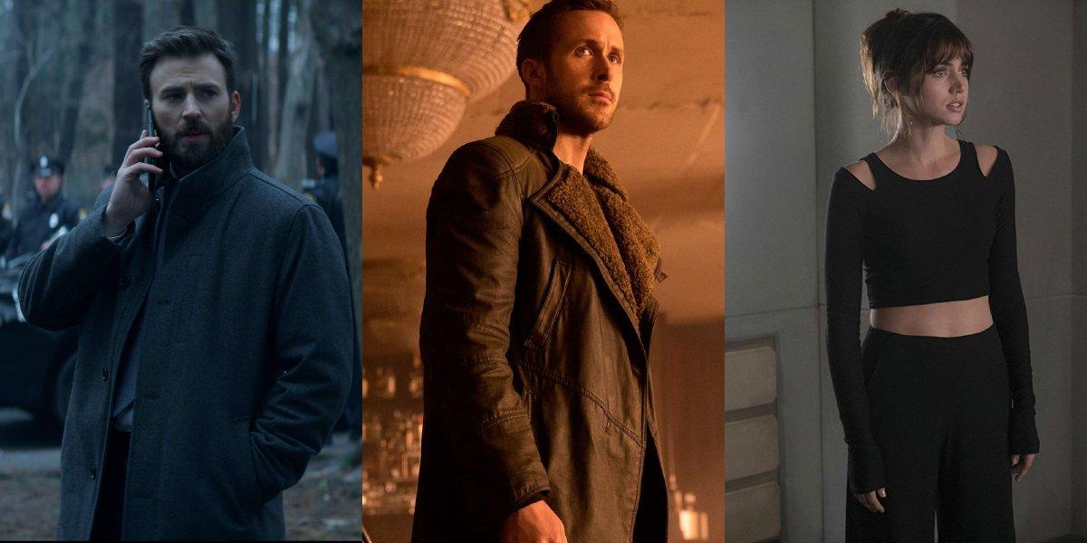 Chris Evans on Defending Jacob; Ryan Gosling in Blade Runner 2049; Ana De Armas in Blade Runner 2049